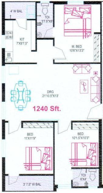 Sudhakar Bindu Sadan Floor Plan: 3 BHK Unit with Built up area of 1040 sq.ft 1