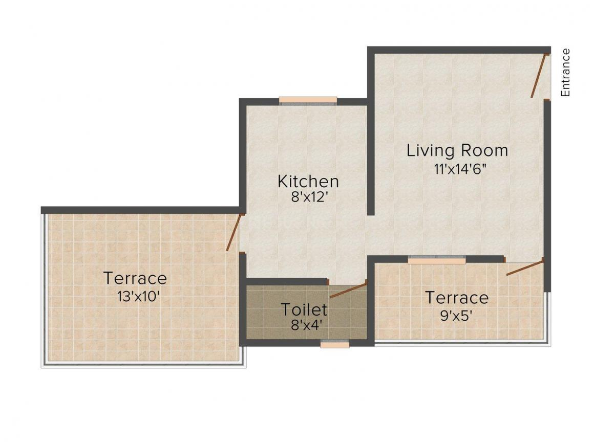 Hamy  Prime Heritage Floor Plan: 1 BHK Unit with Built up area of 510 sq.ft 1