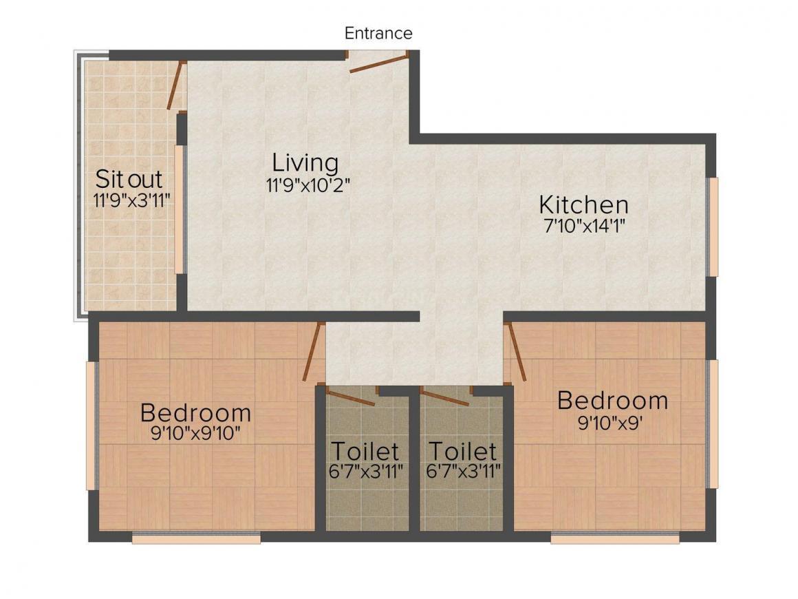 Floor Plan Image of 0 - 750 Sq.ft 2 BHK Apartment for buy in Shree Tirumala Prayag