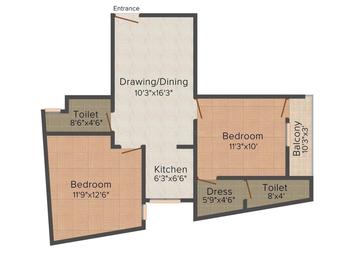 Five Star Homes Floor Plan: 2 BHK Unit with Built up area of 800 sq.ft 1