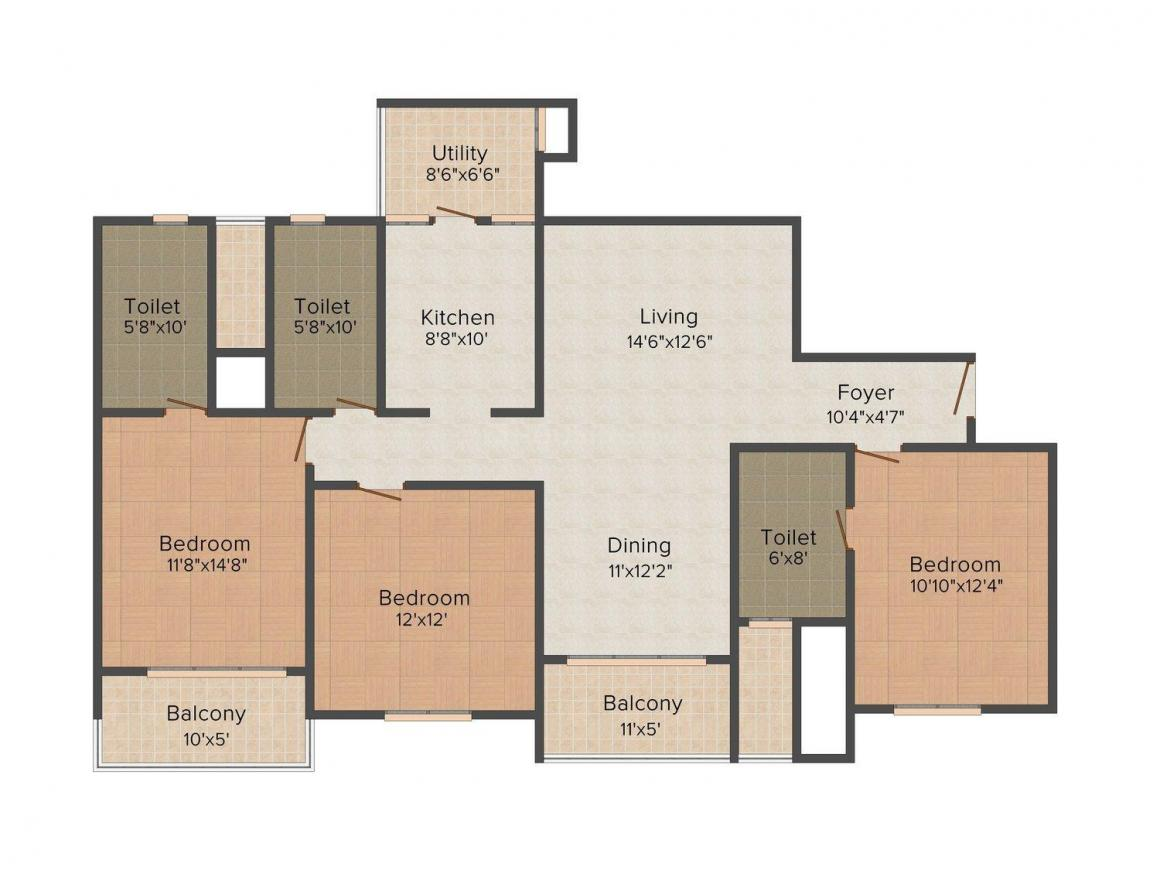 Sobha Eternia Floor Plan: 3 BHK Unit with Built up area of 1879 sq.ft 2