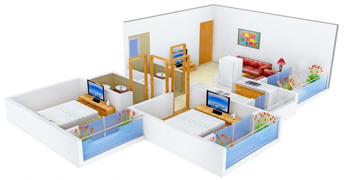 Floor Plan Image of 0 - 1010.0 Sq.ft 2 BHK Apartment for buy in Shubh Satyam Valley