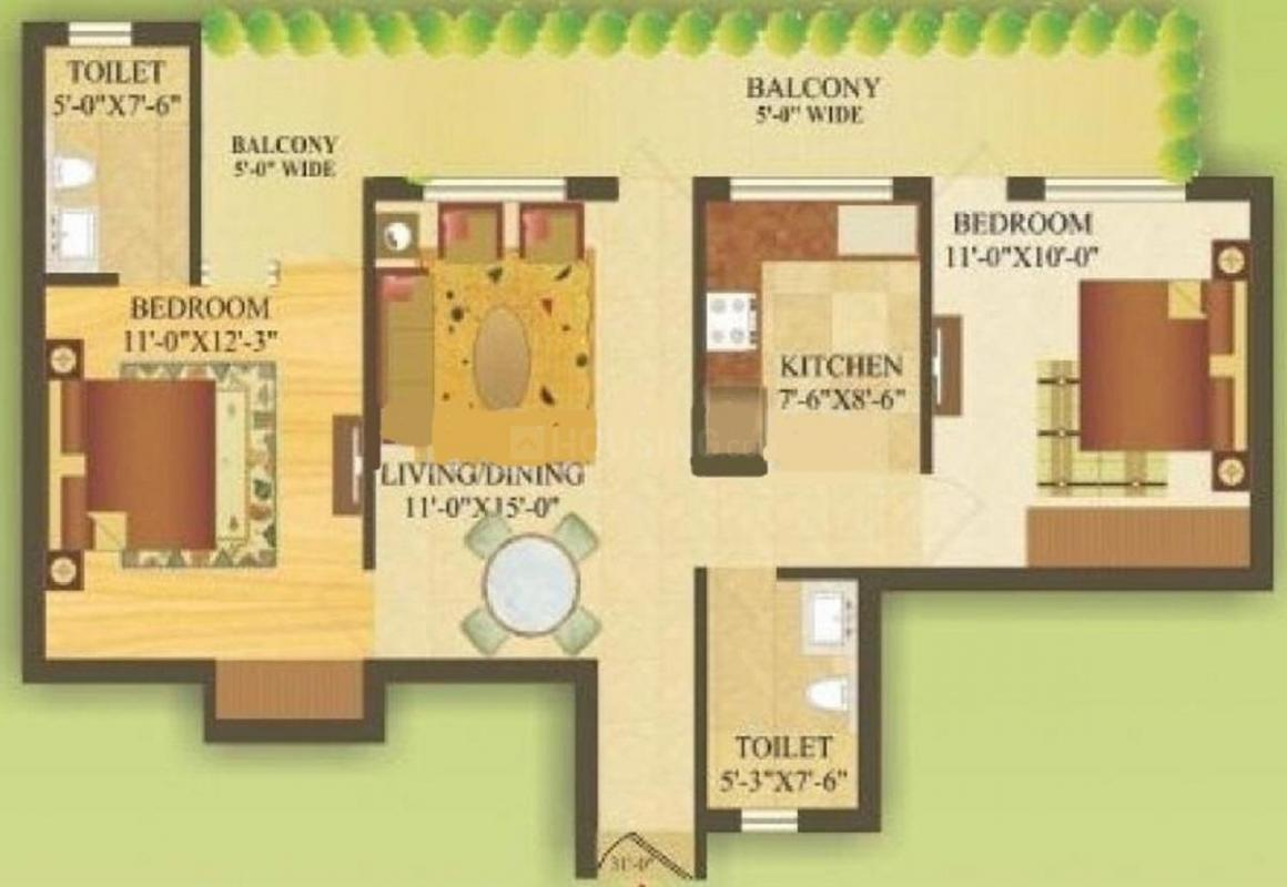 Gardenia Gateway Floor Plan: 2 BHK Unit with Built up area of 1045 sq.ft 2