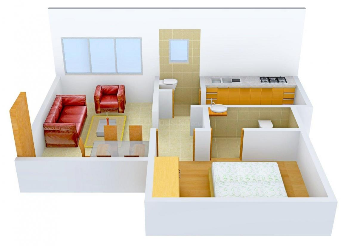 Floor Plan Image of 643.0 - 673.0 Sq.ft 1 BHK Apartment for buy in Timber Green Haren Textiles RA 10
