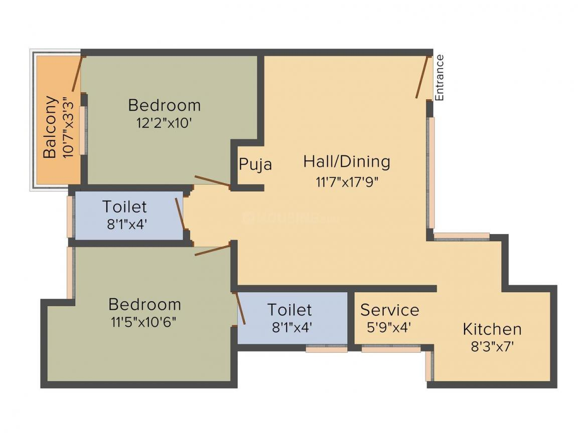 Floor Plan Image of 0 - 957 Sq.ft 2 BHK Apartment for buy in VCC Homes