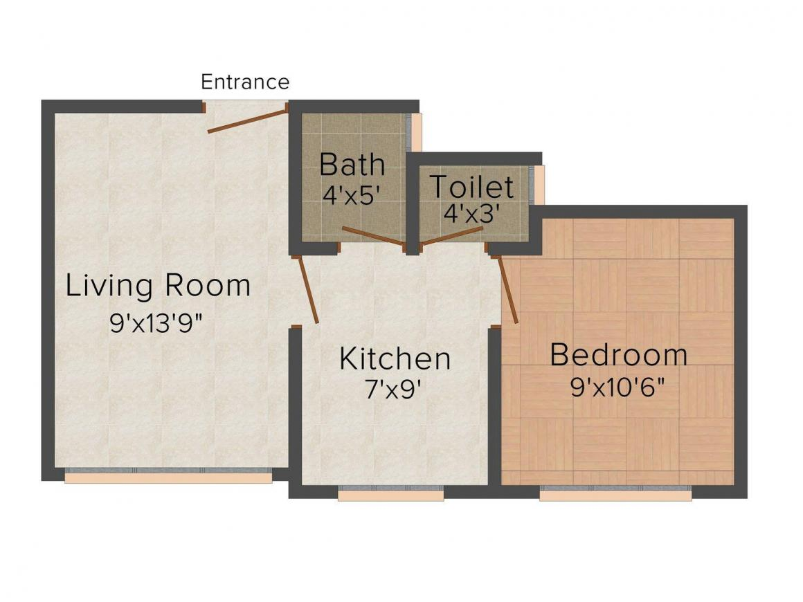 Sai Crystal Residency Floor Plan: 1 BHK Unit with Built up area of 500 sq.ft 1