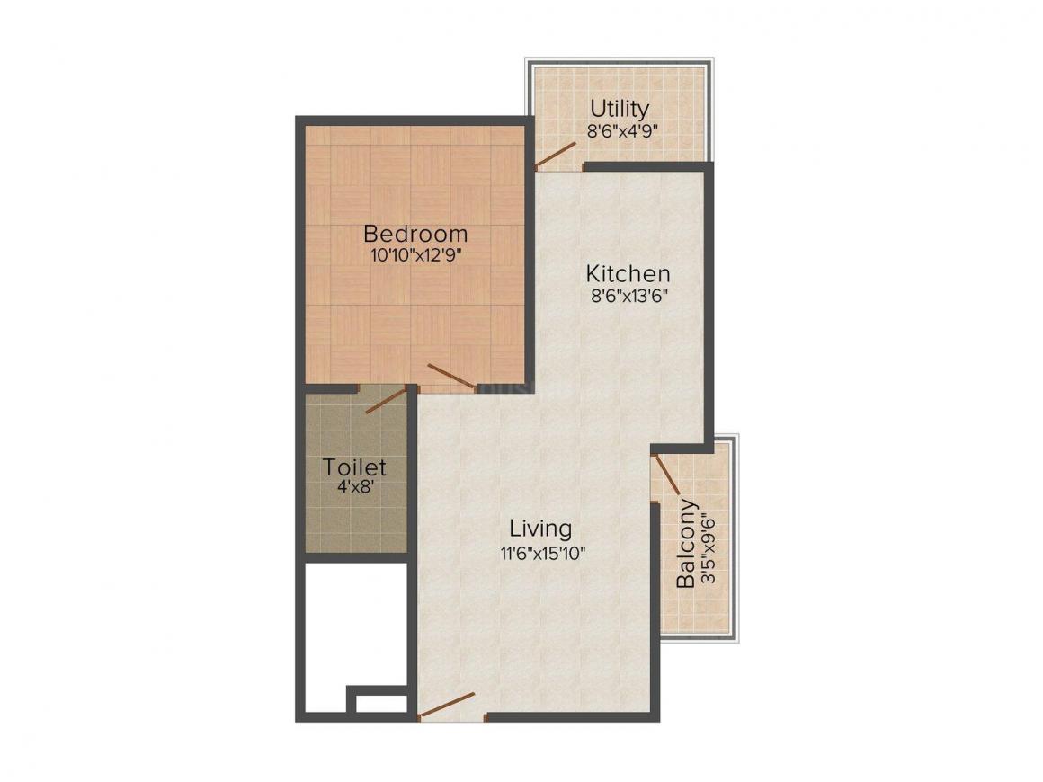 Soundarya Kamakshi Floor Plan: 1 BHK Unit with Built up area of 740 sq.ft 1