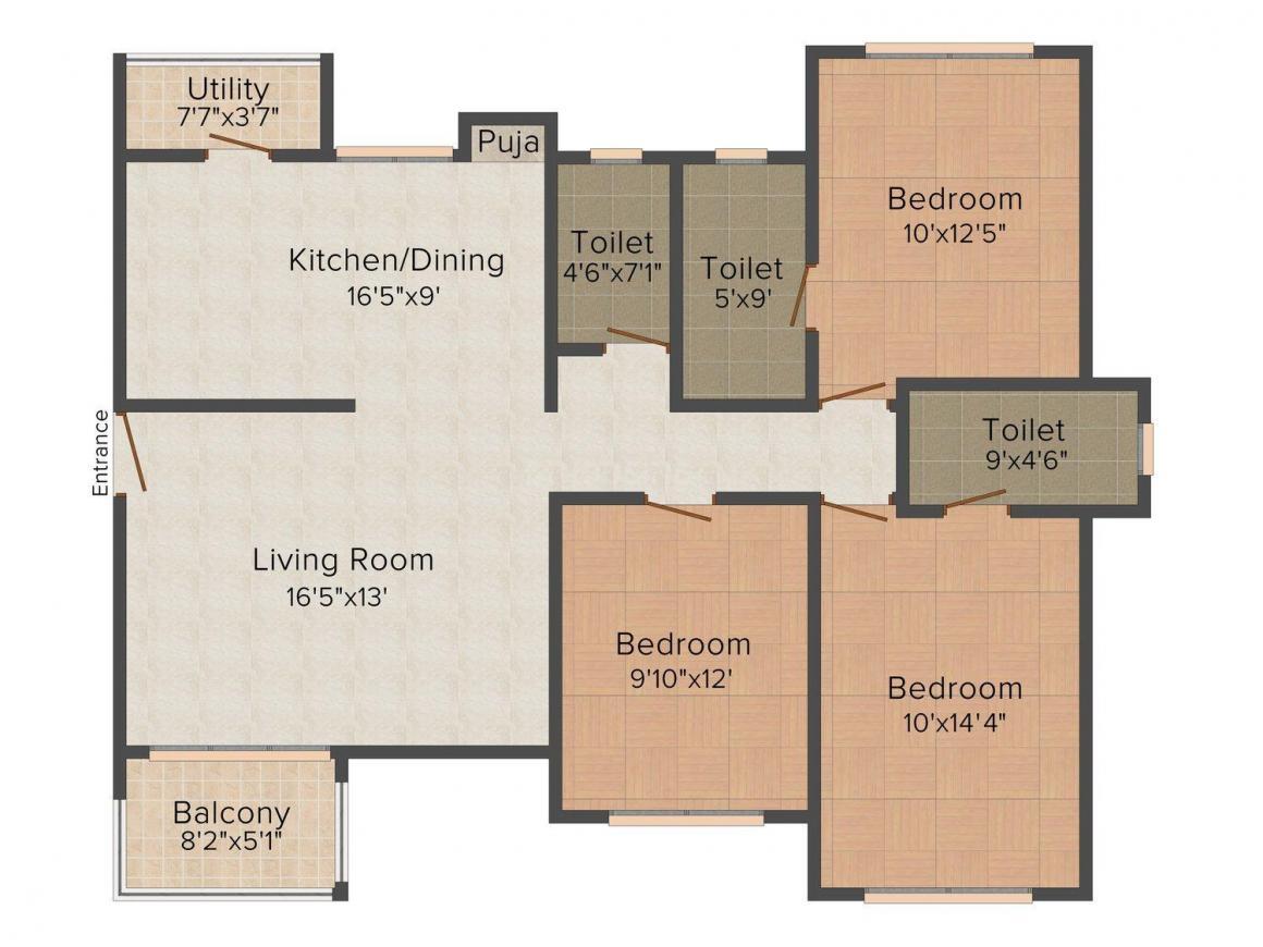 Floor Plan Image of 0 - 1368.0 Sq.ft 3 BHK Apartment for buy in Thakkers Skylands