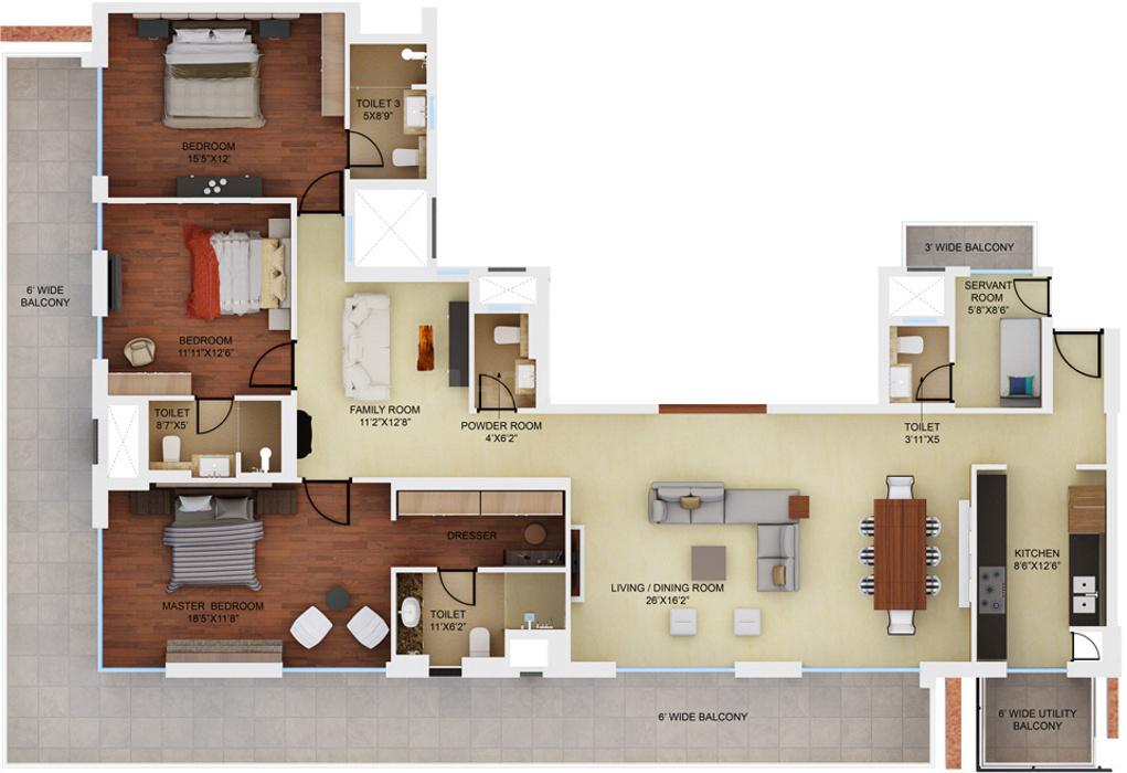 Mahindra Luminare Floor Plan: 3 BHK Unit with Built up area of 2985 sq.ft 1