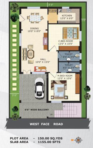 Senthan Greenpark Floor Plan: 2 BHK Unit with Built up area of 1155 sq.ft 1