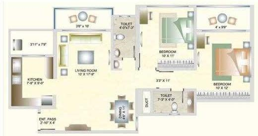 DB Orchid Suburbia Floor Plan: 2 BHK Unit with Built up area of 873 sq.ft 1