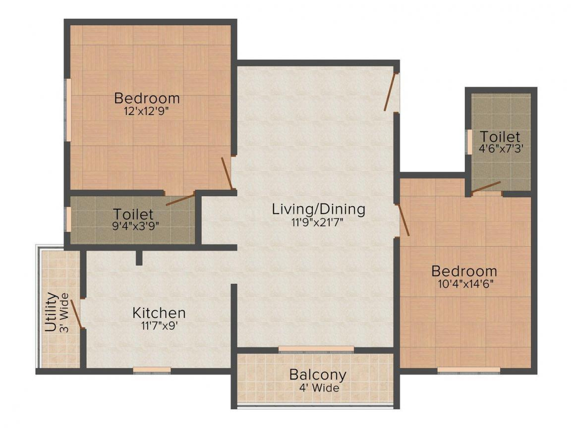 Floor Plan Image of 0 - 1118 Sq.ft 2 BHK Independent Floor for buy in Skyline Ingress