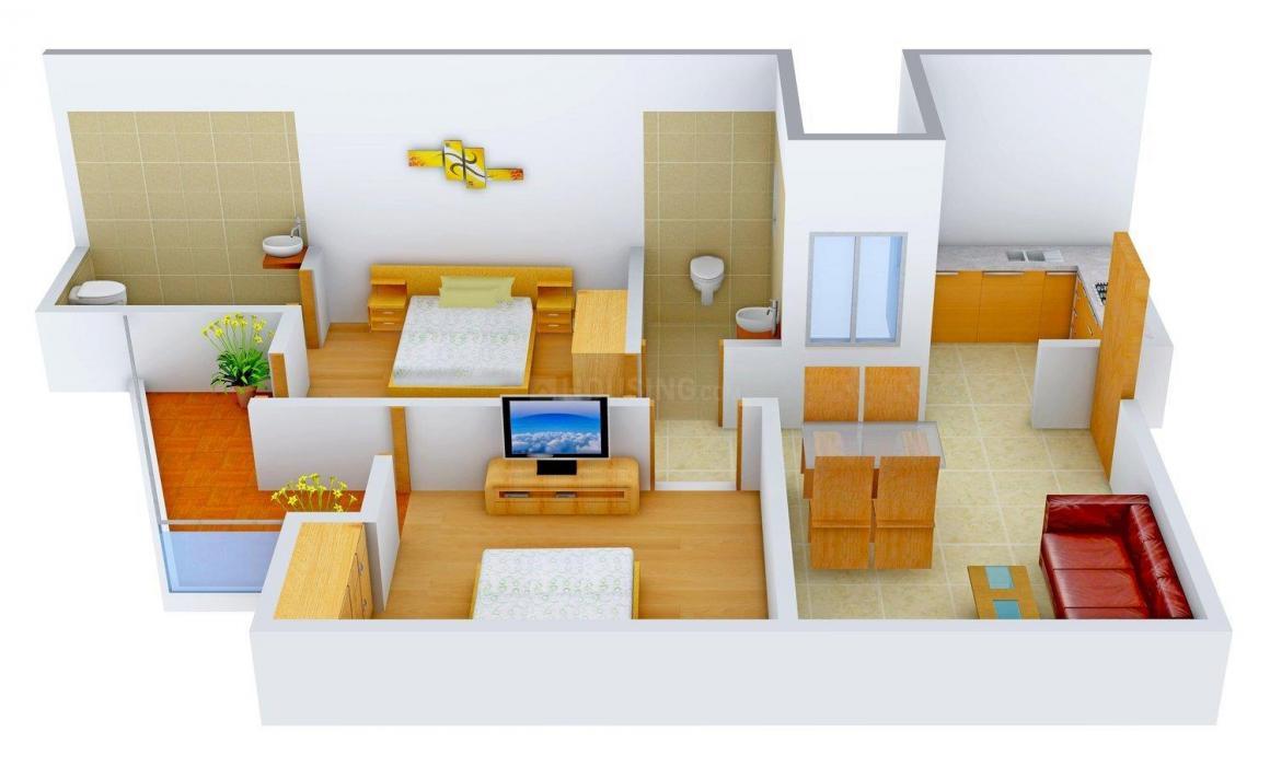 Ganpati Site Floor Plan: 2 BHK Unit with Built up area of 750 sq.ft 1