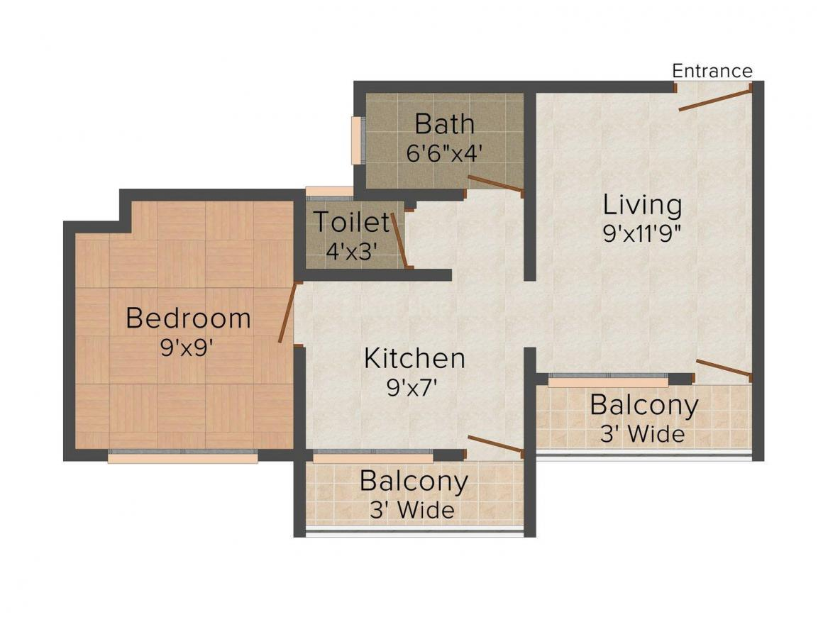 Floor Plan Image of 520 - 895 Sq.ft 1 BHK Apartment for buy in Riddhi Siddhi Apartment