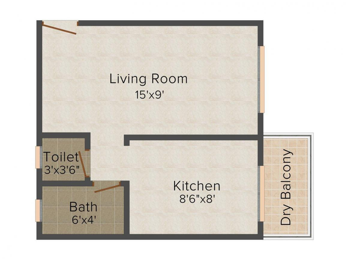 Floor Plan Image of 365.0 - 610.0 Sq.ft 1 RK Apartment for buy in  Akshay Enclave