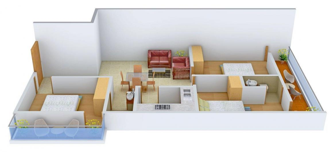 Royal Bricks/D-16 Floor Plan: 3 BHK Unit with Built up area of 1060 sq.ft 1
