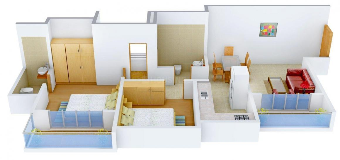 Floor Plan Image of 651.0 - 675.0 Sq.ft 2 BHK Apartment for buy in Nahar Water Lily - White Lily