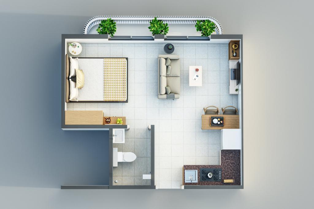 Godrej Vanaangan Floor Plan: 1 BHK Unit with Built up area of 260 sq.ft 1