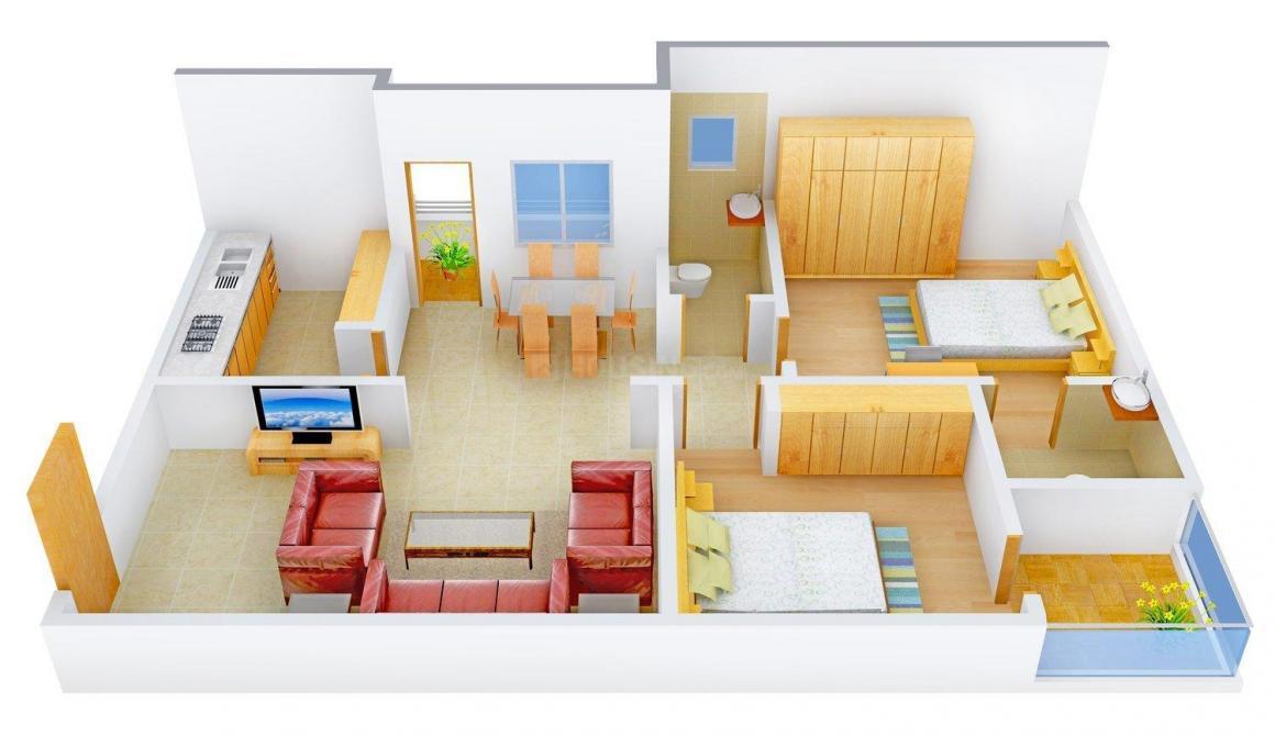 Floor Plan Image of 1050.0 - 1070.0 Sq.ft 2 BHK Apartment for buy in Srinivasa Residency