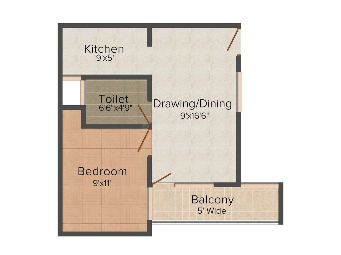Solace Apt - 2 Floor Plan: 1 BHK Unit with Built up area of 500 sq.ft 1