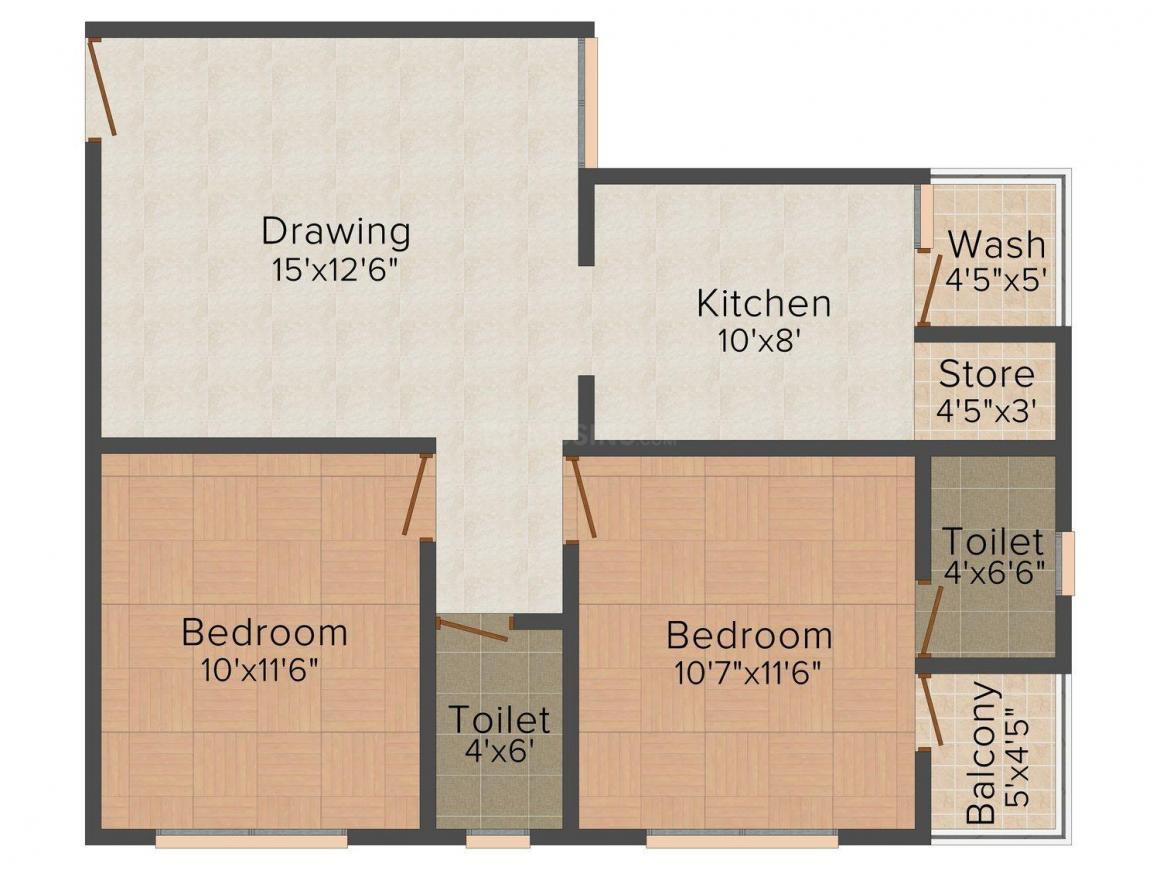 Rashmi Green - Green Space Floor Plan: 2 BHK Unit with Built up area of 1099 sq.ft 1