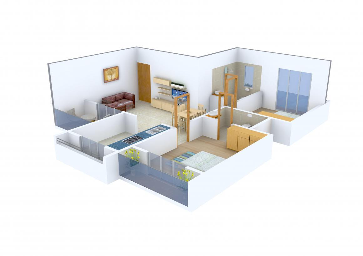 Floor Plan Image of 0 - 1060.0 Sq.ft 2 BHK Apartment for buy in Kaamdhenu Sai Anant