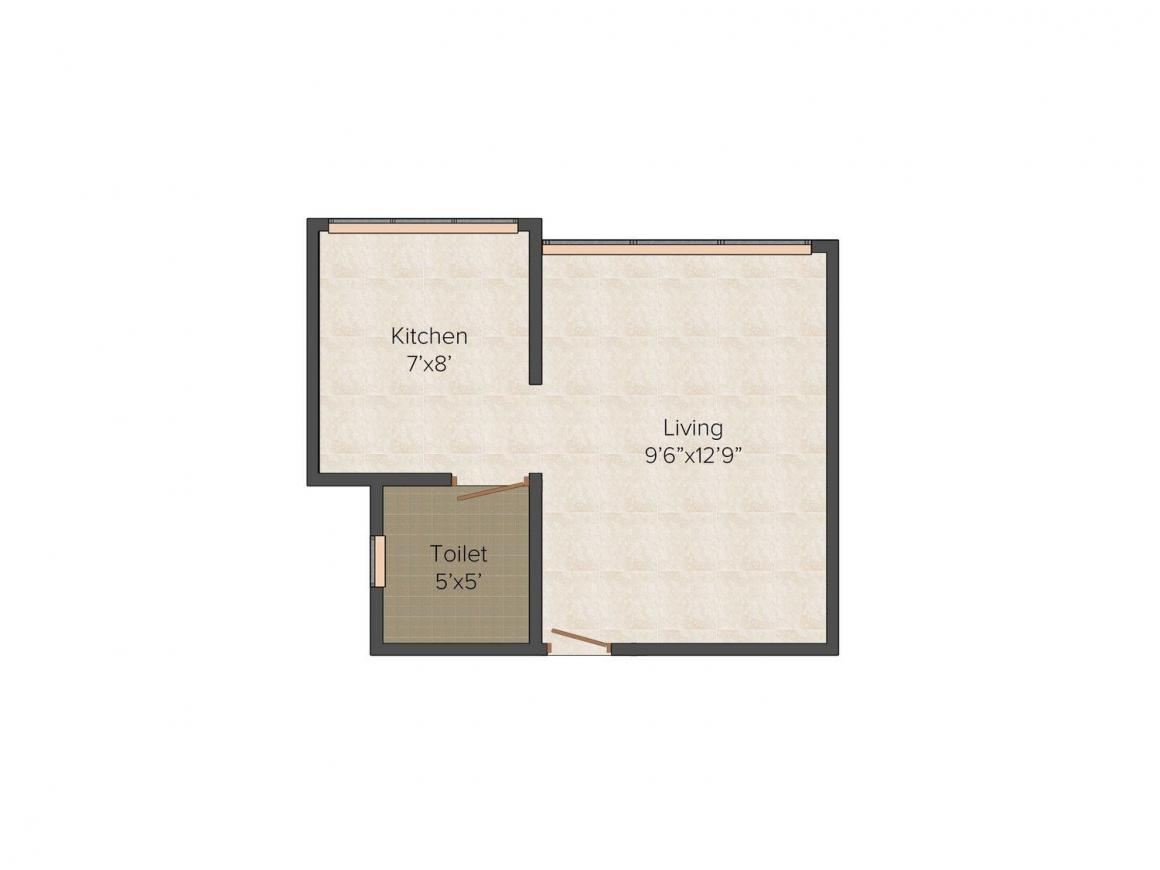 Floor Plan Image of 415.0 - 580.0 Sq.ft 1 RK Apartment for buy in Divine Complex