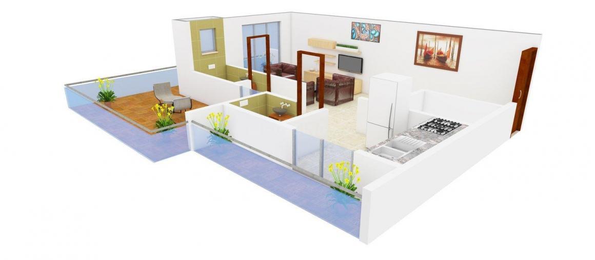 Floor Plan Image of 530 - 715 Sq.ft Studio Studio Apartment for buy in Space Kartikay Kunj