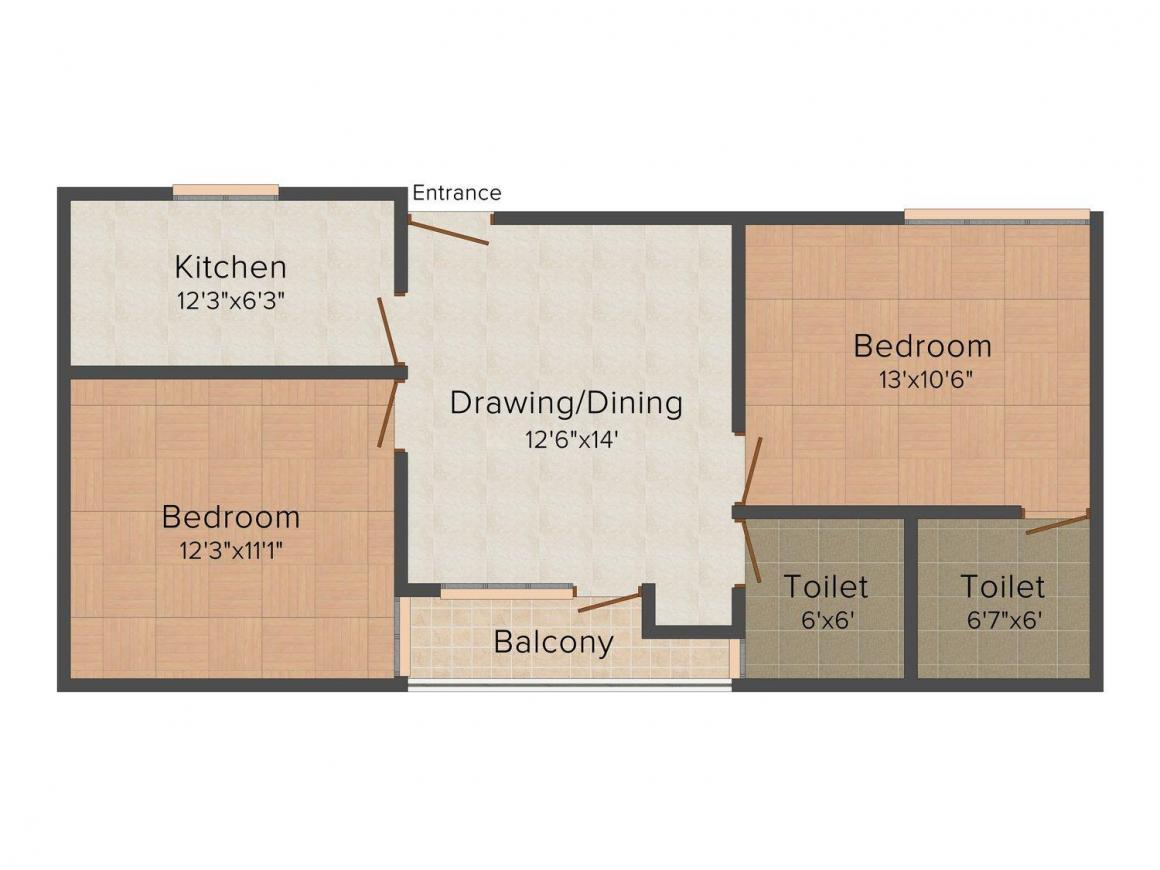Floor Plan Image of 950.0 - 1060.0 Sq.ft 2 BHK Apartment for buy in Yash Apartment