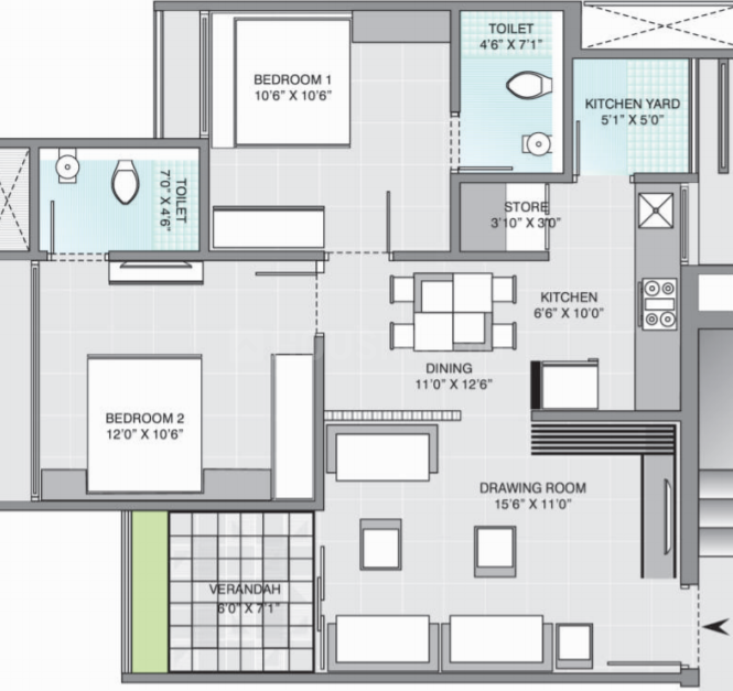 Gala Aria Floor Plan: 2 BHK Unit with Built up area of 1113 sq.ft 1