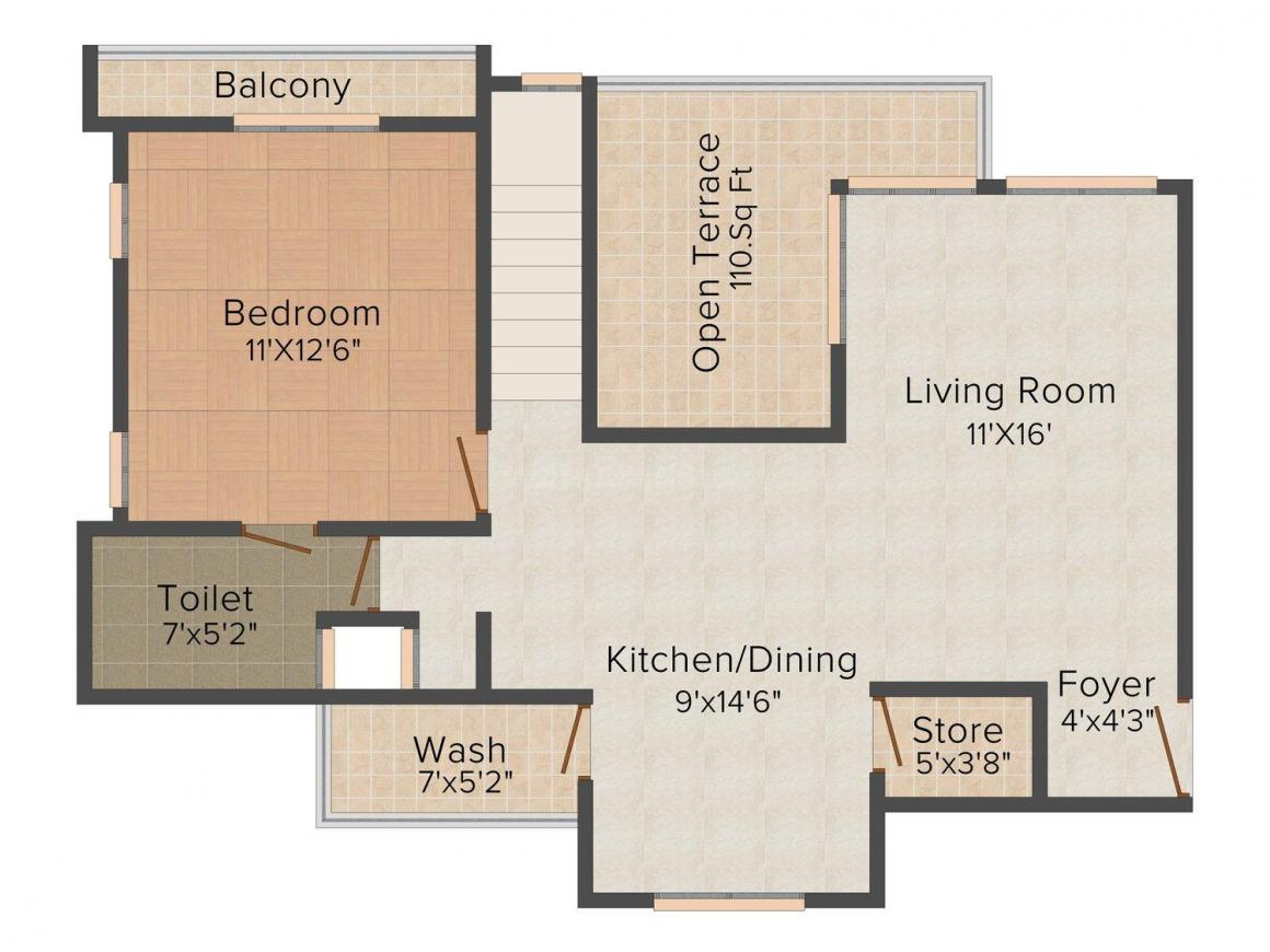 Floor Plan Image of 1150 - 1975 Sq.ft 2 BHK Apartment for buy in Kanha Heights