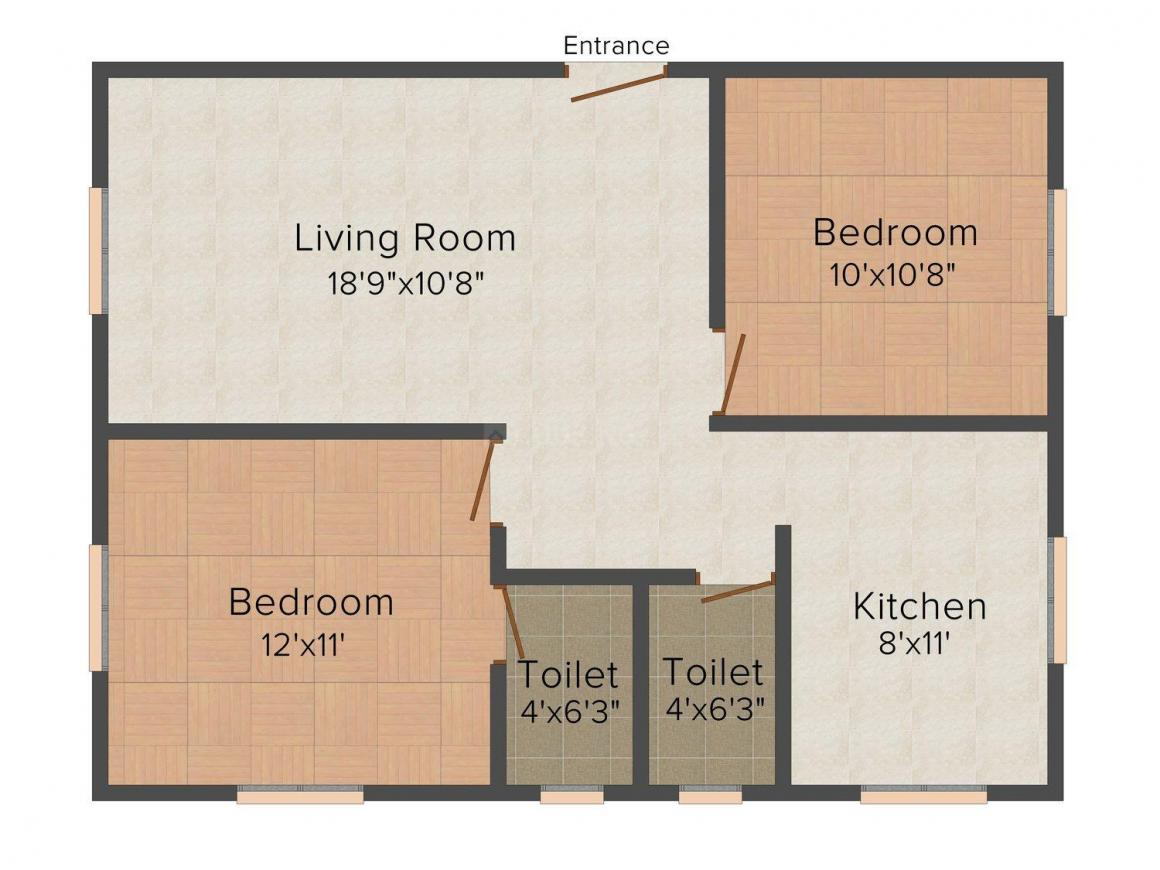 Floor Plan Image of 900.0 - 1300.0 Sq.ft 2 BHK Apartment for buy in Cornerstone Beryl Flats