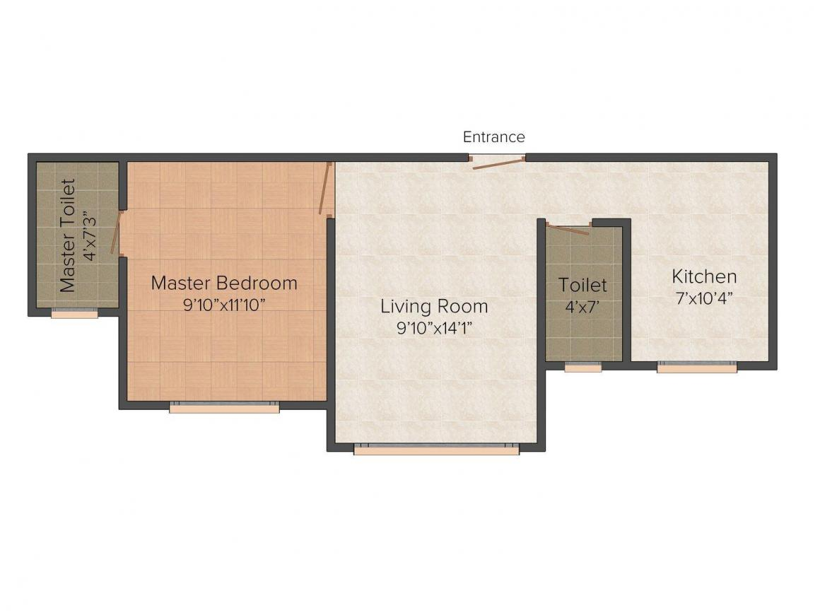Floor Plan Image of 402 - 750 Sq.ft 1 BHK Apartment for buy in Khodiyar Apartment
