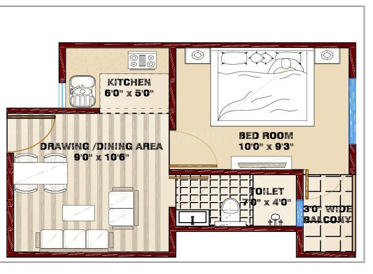 Escon Kendriye Awas And Awasiye Yojna Floor Plan: 1 BHK Unit with Built up area of 460 sq.ft 2