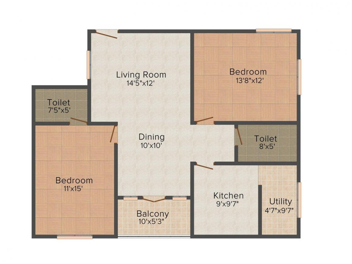 Floor Plan Image of 1186 - 1670 Sq.ft 2 BHK Apartment for buy in SA Keerthanam