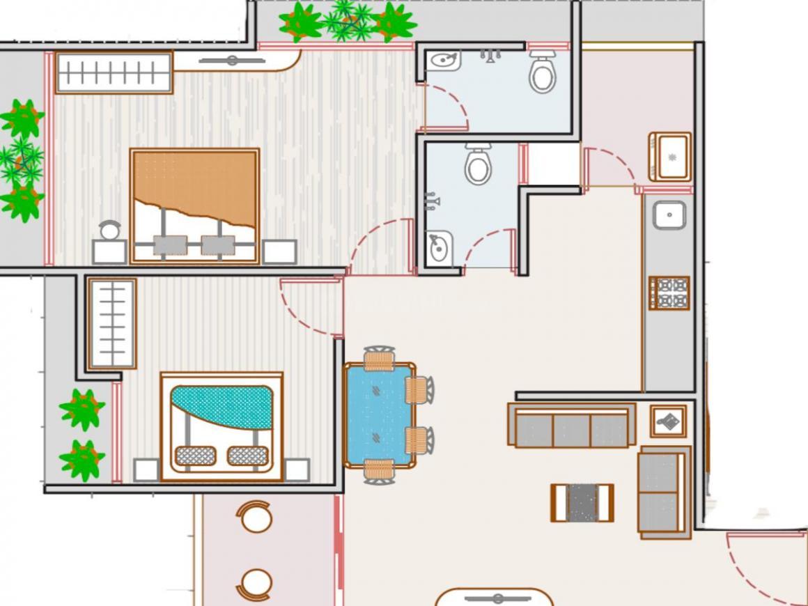 Pavan Pavan Elegance Floor Plan: 2 BHK Unit with Built up area of 601 sq.ft 1