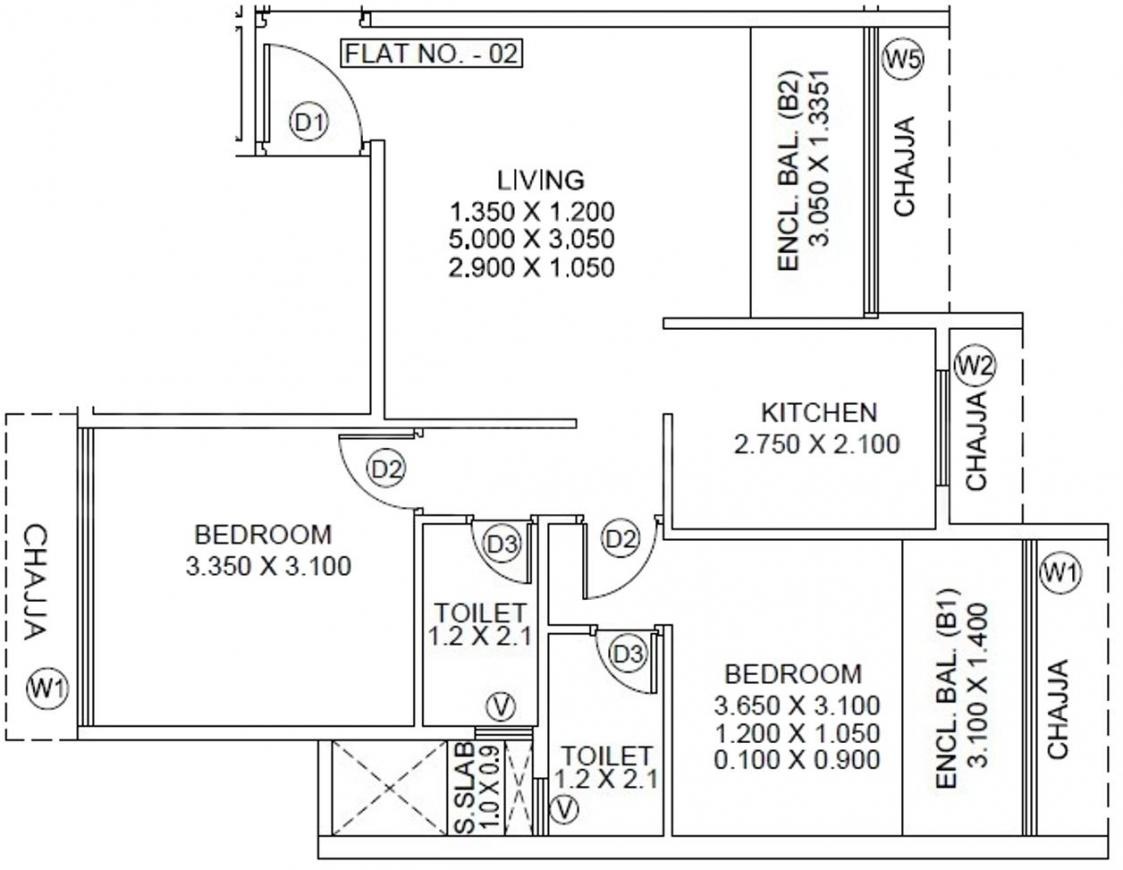 Satyam Pride Floor Plan: 2 BHK Unit with Built up area of 547 sq.ft 1