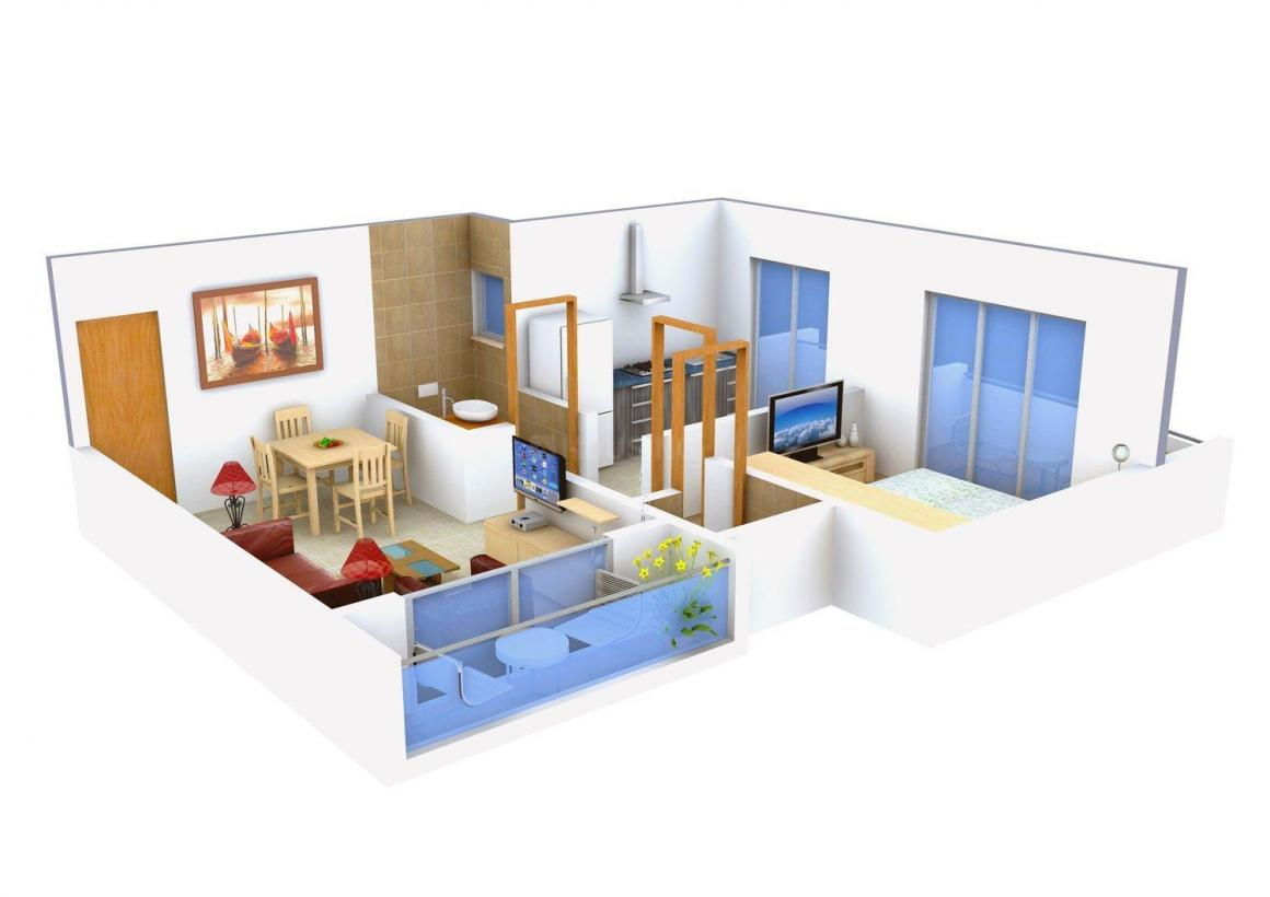 Floor Plan Image of 465.0 - 685.0 Sq.ft 1 BHK Apartment for buy in Amber Plaza