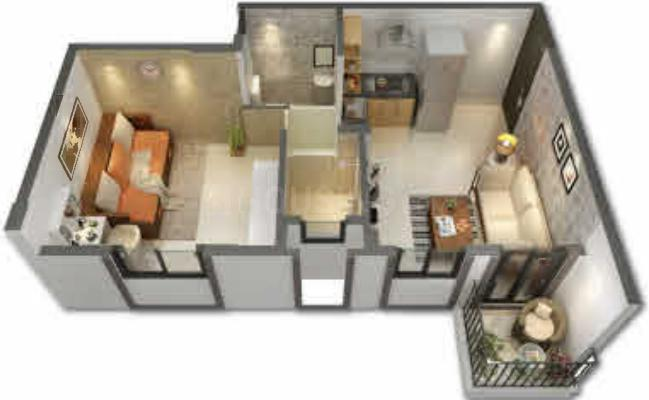 Peninsula Address One Phase 6 Floor Plan: 1 BHK Unit with Built up area of 294 sq.ft 1