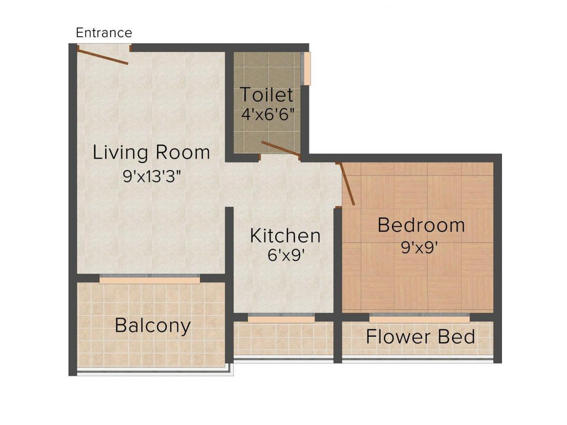 Floor Plan Image of 480.0 - 670.0 Sq.ft 1 BHK Apartment for buy in Aastha Kalash Park