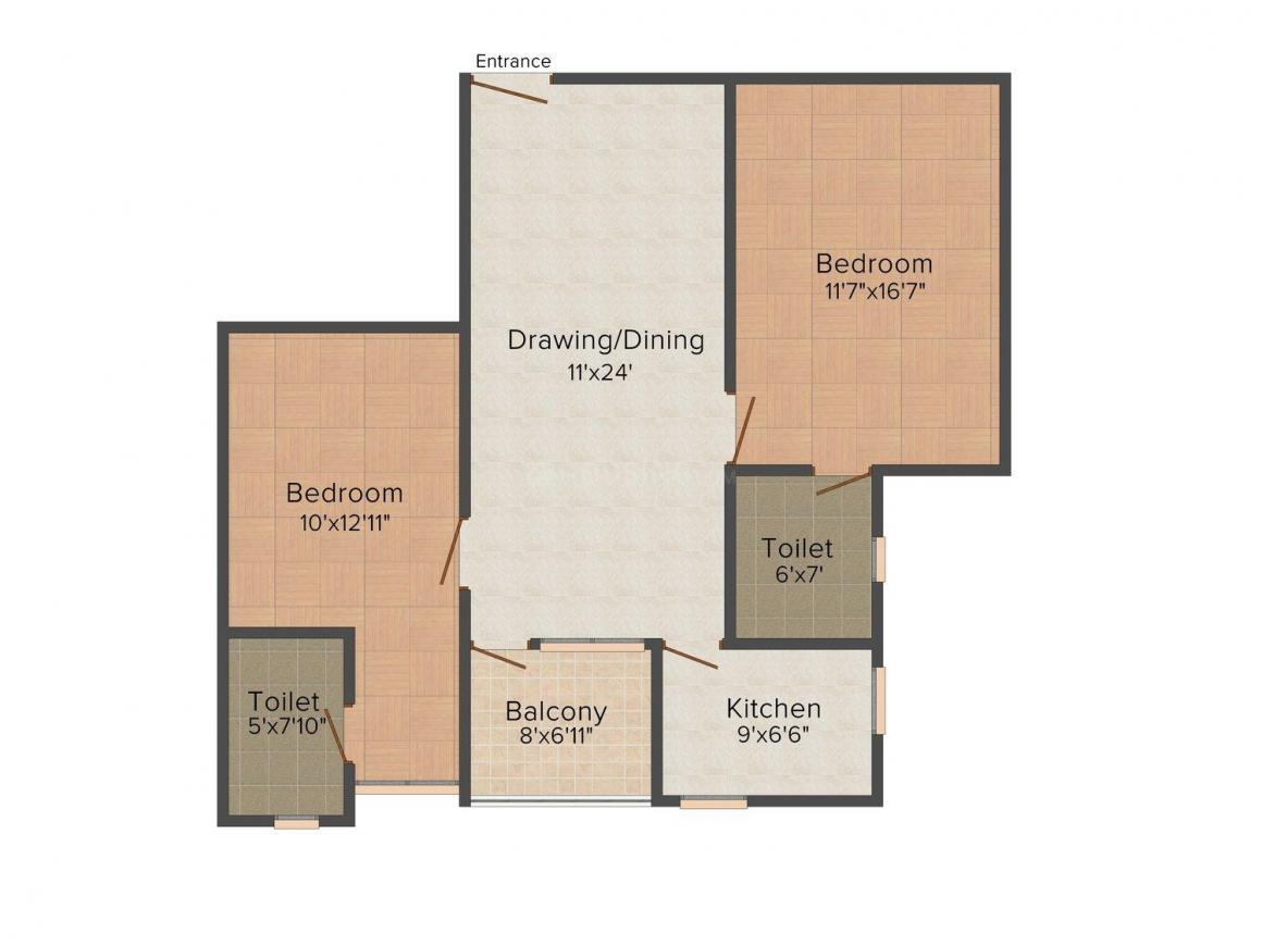 Saakaar Gulmohar Greens  Floor Plan: 2 BHK Unit with Built up area of 925 sq.ft 1