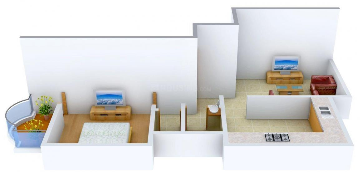 Floor Plan Image of 625.0 - 835.0 Sq.ft 1 BHK Apartment for buy in Prabhat Paradise Phase II