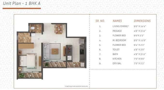 Shapoorji Pallonji Joyville Virar Phase 4 Floor Plan: 1 BHK Unit with Built up area of 355 sq.ft 1