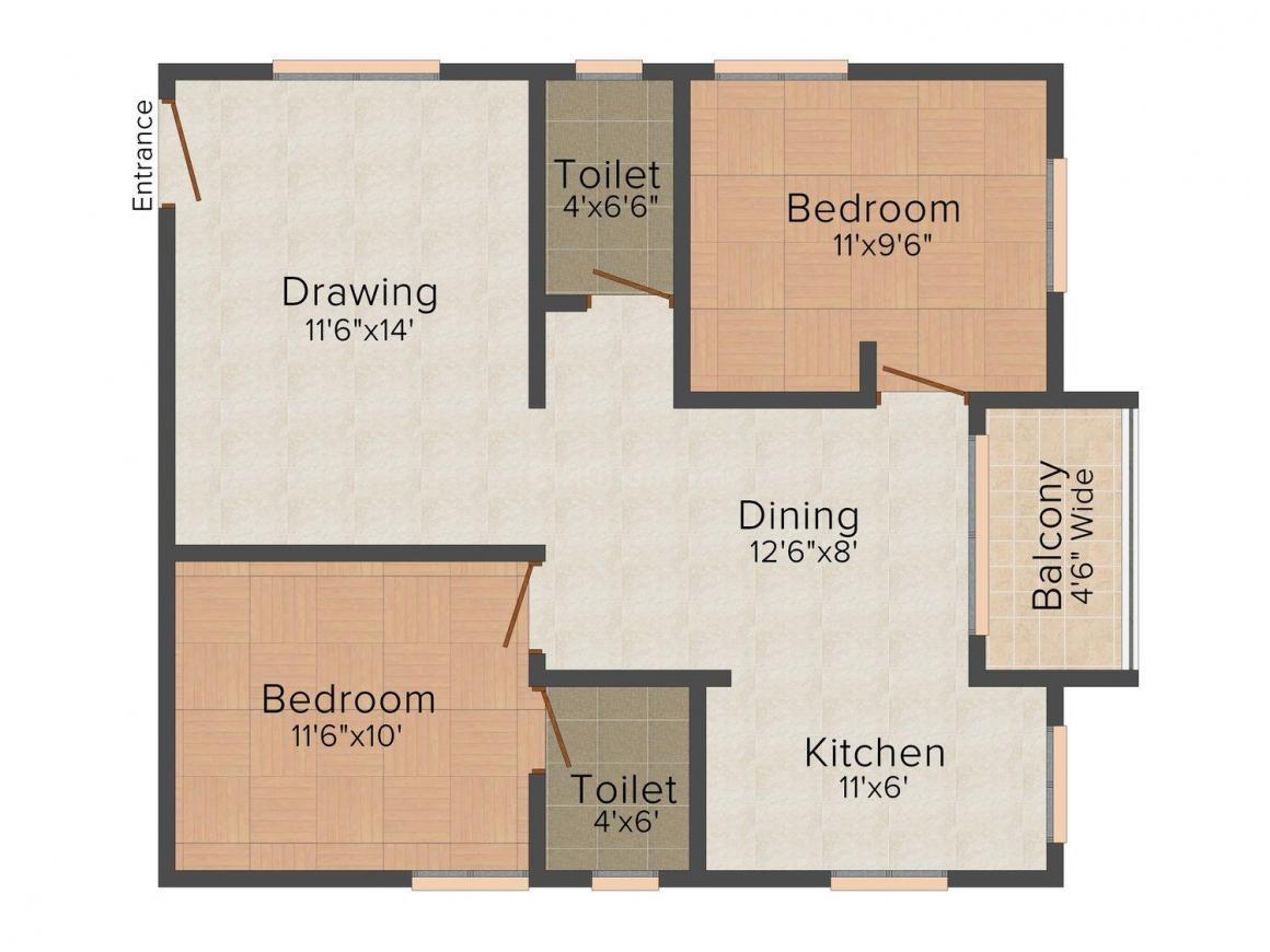 Rayala Sai Gayathri Residency Floor Plan: 2 BHK Unit with Built up area of 900 sq.ft 1