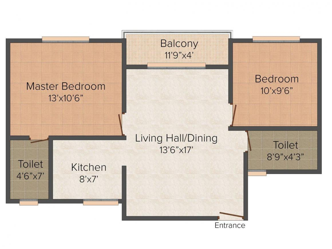Signature Floor Plan: 2 BHK Unit with Built up area of 865 sq.ft 1