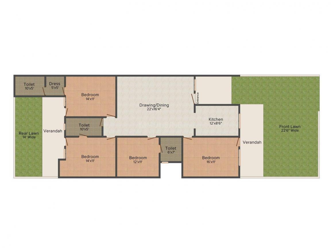 Hindustan HR Floors 2 Floor Plan: 4 BHK Unit with Built up area of 2000 sq.ft 1