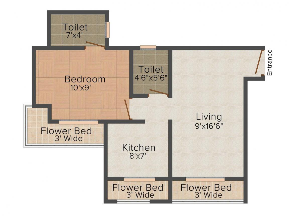 Floor Plan Image of 625.0 - 865.0 Sq.ft 1 BHK Apartment for buy in Shree Avenue