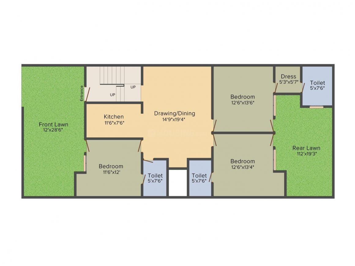 Property Planners Paradise Floors Floor Plan: 3 BHK Unit with Built up area of 1500 sq.ft 1