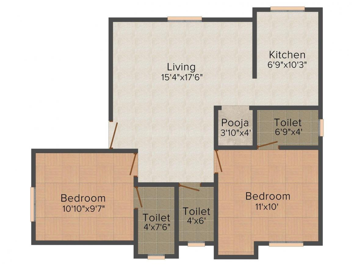 Floor Plan Image of 432.0 - 926.0 Sq.ft 1 BHK Apartment for buy in CC Sweet Homes