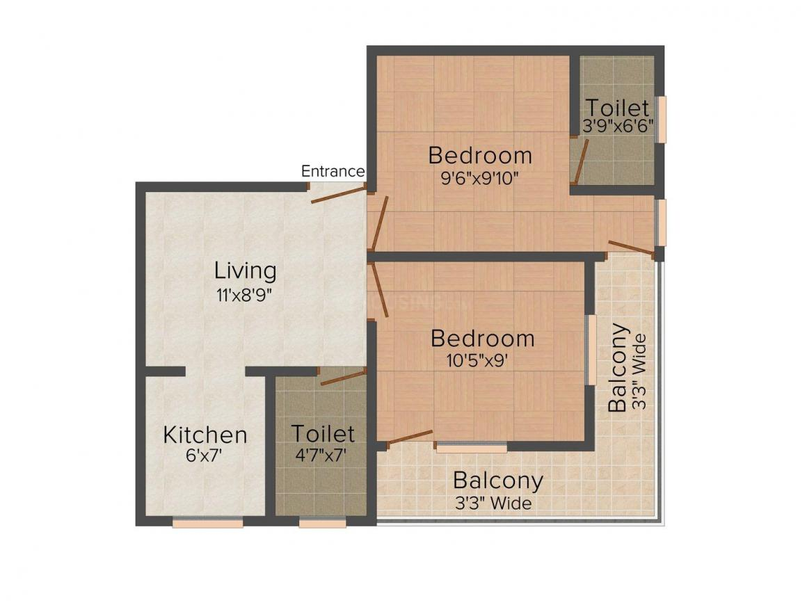Floor Plan Image of 0 - 1200 Sq.ft 2 BHK Independent Floor for buy in Ardent Vasudhara Homes